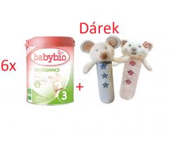 6x Babybio Croissance 3 900g + Dárek