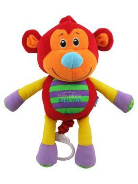 BabyMix Červená Opička hrající plyšová hračka