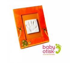 Baby Otisk sada pro otisk s ručně malovaným rámečkem-oranžová