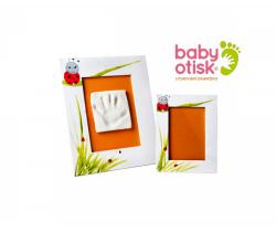 Baby Otisk sada pro otisk s ručně malovaným rámem a rámečkem na foto-bílá