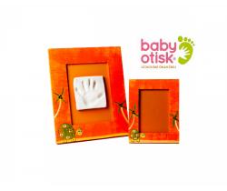 Baby Otisk sada pro otisk s ručně malovaným rámem a rámečkem na foto-oranžová