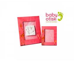 Baby Otisk sada pro otisk s ručně malovaným rámem a rámečkem na foto-růžová