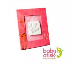 Baby Otisk sada pro otisk s ručně malovaným rámem-růžová