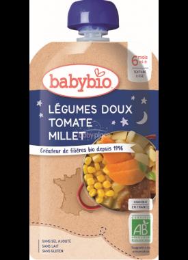 Babybio Doypack pyré sladká zelenina s rajčaty a  s prosem 120g
