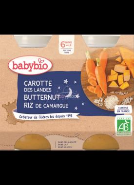 Babybio Good Night mrkev, dýně s rýži 2 x 200g
