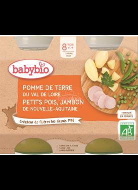 Babybio menu brambory a hrášek se šunkou 2 x 200g