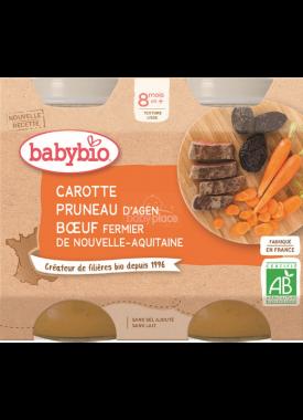 Babybio menu mrkev a sušené švestky s hovězím mase 2 x 200g