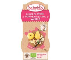 Babybio ovocný příkrm hruška, jablko, vanilka 2 x 120g