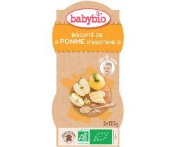 Babybio ovocný příkrm jablko, sušenka 2 x 120g