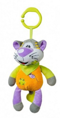 BabyOno Kočka oranžová hrající plyšová hračka s klipem