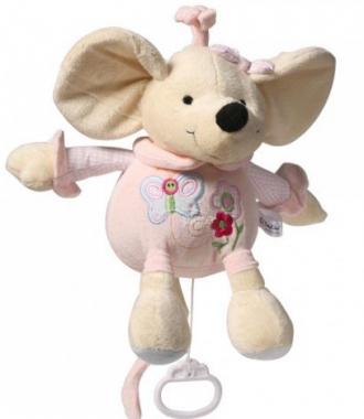 BabyOno Myška hudební plyšová hračka s klipem