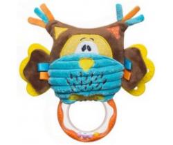 BabyOno Sova hračka s chrastítkem a kousátkem