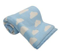 Bavlněná dětská deka 100x80 cm LittleUp Blue Clouds