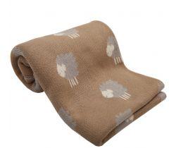 Bavlněná dětská deka 100x80 cm LittleUp Brown Lambs