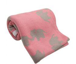Bavlněná dětská deka 100x80 cm LittleUp Pink Elephants