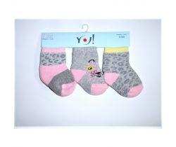 Bavlněné ponožky 3 ks Yo Grey Ribs