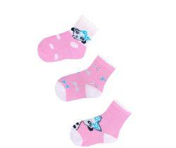 Bavlněné ponožky 3 ks Yo Pink Dalmatian
