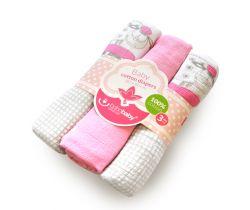 Bavlněné tetra plenky s potiskem 3 ks Bobas Sweet Sheep Pink