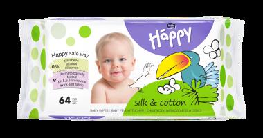 Bella Baby Happy čistící ubrousky hedvábí a bavlna 64 ks