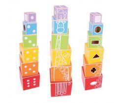 Dřevěná barevná věž s tvary Bigjigs Baby