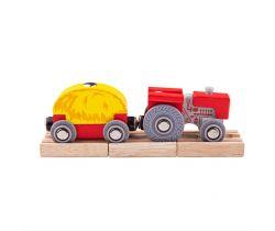 Červený traktor s valníkem Bigjigs Rail