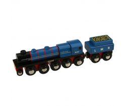 Dřevěná replika lokomotivy + 3 koleje Bigjigs Rail LMR Gordon