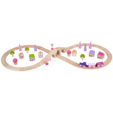 Dřevěná vláčkodráha 40 dílů Bigjigs Rail Osmička pro princezny