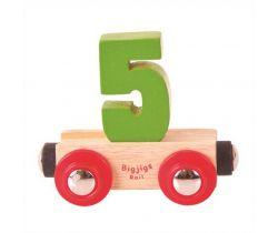 Dřevěné vláčkodráhy Bigjigs Rail Vagónek Číslo 5