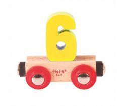 Dřevěné vláčkodráhy Bigjigs Rail Vagónek Číslo 6