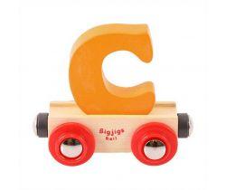 Dřevěné vláčkodráhy Bigjigs Rail Vagónek Písmeno C
