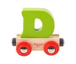 Dřevěné vláčkodráhy Bigjigs Rail Vagónek Písmeno D