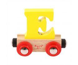 Dřevěné vláčkodráhy Bigjigs Rail Vagónek Písmeno E