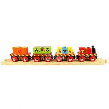 Vláček s nebezpečným nákladem + 2 koleje Bigjigs Rail