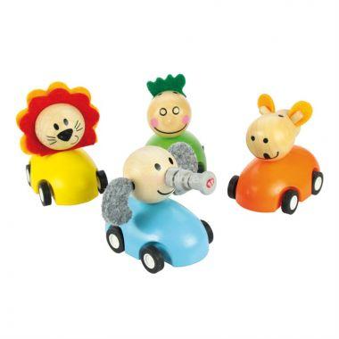 Barevné dřevěné auto se zvířátky Bigjigs Toys 1ks