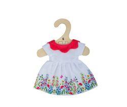 Bílé květinové šaty s červeným límečkem pro panenku 28 cm Bigjigs Toys
