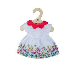 Bílé květinové šaty s červeným límečkem pro panenku 34 cm Bigjigs Toys