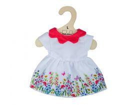 Bílé květinové šaty s červeným límečkem pro panenku 38 cm Bigjigs Toys