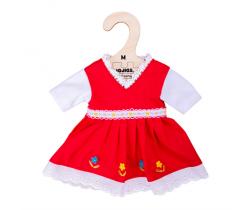 Květinové šaty pro panenku 34 cm Bigjigs Toys Červené