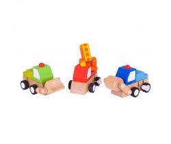 Dřevěná barevná autíčka na natahování Bigjigs Toys