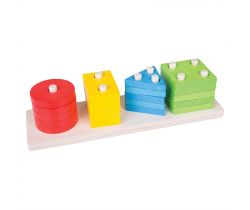Dřevěná motorická deska Bigjigs Toys Tvary Barvy Tyče