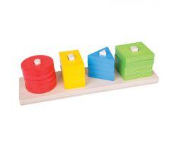 Dřevěná motorická třídící deska Bigjigs Toys Tvary Barvy