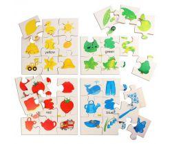 Dřevěné didaktické puzzle Bigjigs Toys Základní barvy