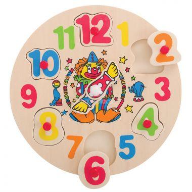 Dřevěné hodiny s klaunem Bigjigs Toys