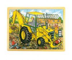 Dřevěné puzzle Bigjigs Toys Bagr 24 dílků