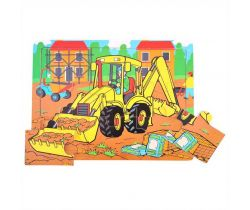 Dřevěné puzzle Bigjigs Toys Bagr 9 dílků