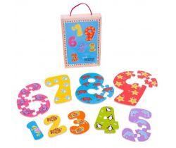 Dřevěné puzzle Bigjigs Toys Čísla 1-9