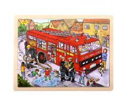 Dřevěné puzzle Bigjigs Toys Hasiči 24 dílků