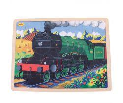Dřevěné puzzle Bigjigs Toys Historický vlak Flying Scotsman 35 dílků