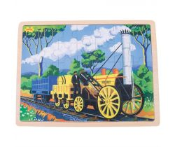 Dřevěné puzzle Bigjigs Toys Historický vlak Rocket 35 dílků