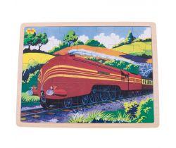 Dřevěné puzzle Bigjigs Toys Historický vlak Vévodkyně z Hamiltnu 35 dílků
